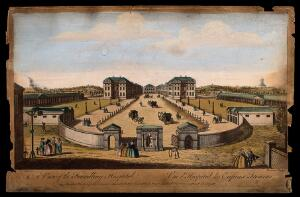 view The Foundling Hospital, Holborn, London: a bird's-eye view of the courtyard. Coloured engraving by T. Bowles after L. P. Boitard, 1753.