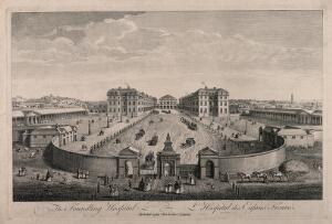 view The Foundling Hospital, Holborn, London: a bird's-eye view of the courtyard. Engraving by T. Bowles after L. P. Boitard, 1753.