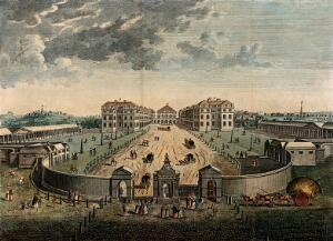 view The Foundling Hospital, Holborn, London: a bird's-eye view of the courtyard, numbered for a key. Coloured engraving after L. P. Boitard, 1753.
