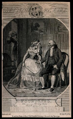 view A man holds out his hand to a weeping woman [Fidelia]. Engraving by Springwell after R. Corbould, 1792.