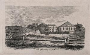 view The Foundling Hospital: the main buildings seen from the north, with a farmyard in the foreground. Engraving by J. P. Malcolm after himself, 1808.