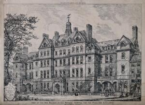 view The National Hospital for the Paralysed and Epileptic, Queen Square, Holborn. Photolithograph by J. Akerman, 1884, after J. W. Simpson, 1883.