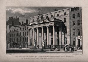 view The Royal College of Surgeons, Lincoln's Inn Fields, London. Engraving by W. Deeble, 1828, after T. H. Shepherd.