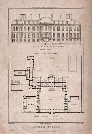 view The British Museum at Montague House: a layout plan, and elevation of the garden facade. Engraving by J. Roffe after A. Pugin, 1823.