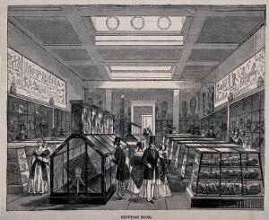 view The British Museum: the Egyptian Room, with visitors. Wood engraving, 1847.