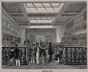 view The British Museum: the Etruscan Room, with visitors. Wood engraving, 1847.