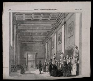 view The British Museum: the Roman Saloon, with visitors. Wood engraving attributed to J. and A. Williams, 1857.