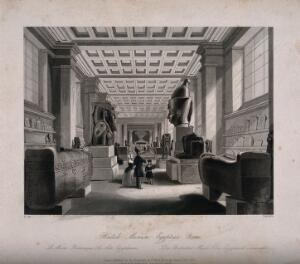 view The British Museum: the Egyptian Room, with visitors. Engraving by Radclyffe after B. Sly, 1844.