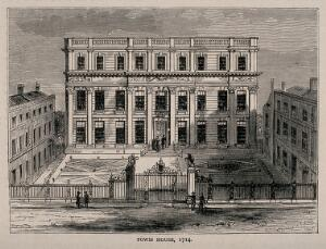 view Powis House, Great Ormond Street, London, in 1714. Wood engraving after T. Bowles.
