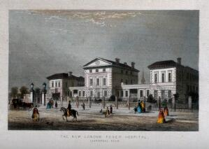 view London Fever Hospital, Liverpool Road, Islington: viewed from the south. Coloured engraving.