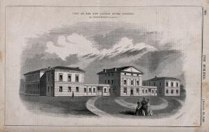 view London Fever Hospital, Liverpool Road, Islington: viewed from the north. Wood engraving by C. D. Laing, 1848.
