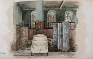 view The London Fever Hospital, Liverpool Road, Islington: a screened-off bed in a ward. Watercolour by Nurse Flower, 1891.