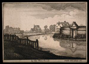 view The New River, Islington. Etching by W. Hollar, 1665.