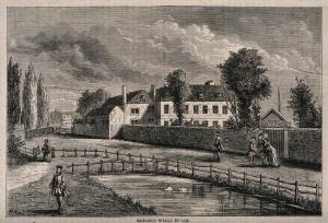 view Sadler's Wells, with the New River running beside. Wood engraving by A. H. W.
