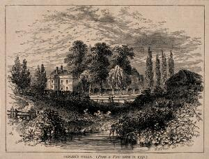 view Sadler's Wells Theatre, with the New River running beside. Wood engraving by W. H. Prior.