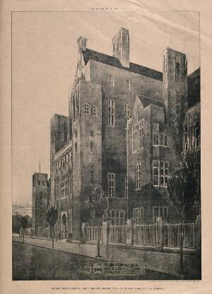 view The Belgrave Hospital for Children, Kennington Park Road: the street elevation from the west, with a plan inset below. Photolithograph by Sprague after C. Holden, 1903.