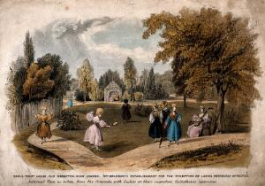 view Earl's Court House, London: the gardens with several women, walking, skipping, playing badminton, etc. Coloured lithograph by G. E. Madeley after himself.
