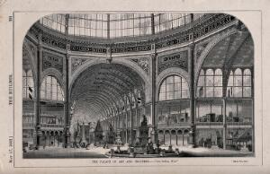 view The Palace of Art and Industry, exhibition of 1862: the interior, at the crossing, looking west. Wood engraving by W. E. Hodgkin, 1862.