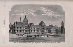 view Design for museums at south Kensington. Wood engraving by J. S. Heaviside after B. Sly after R. Kerr, 1864.