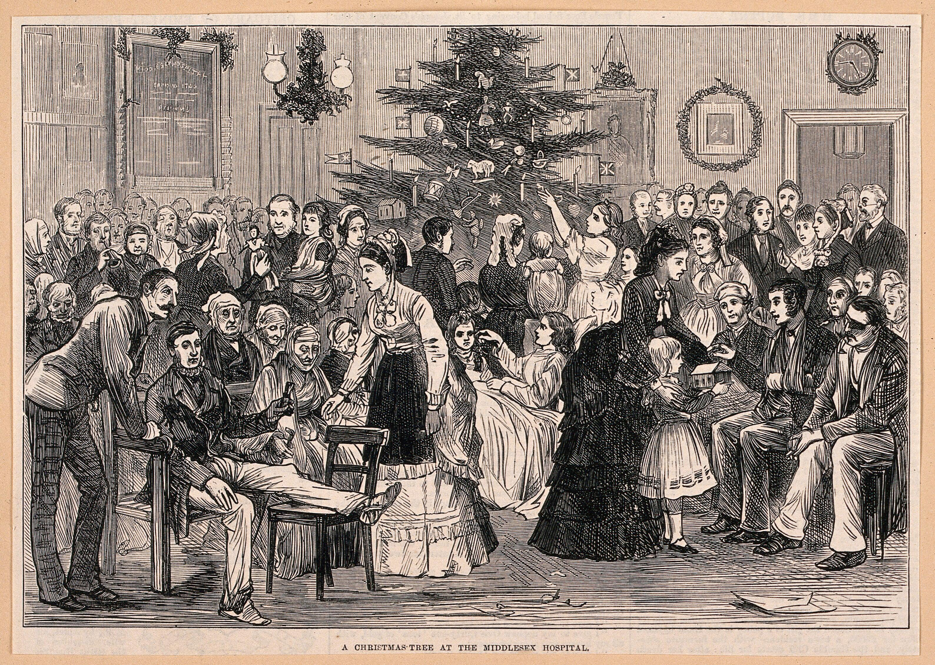 The Middlesex Hospital A Party In A Ward With A Christmas