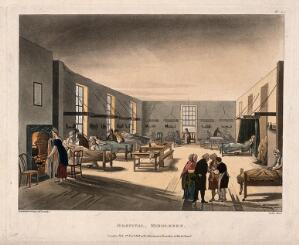 view The Middlesex Hospital: the interior of one of the female wards. coloured aquatint by J. C. Stadler, 1808, after A. C. Pugin and T. Rowlandson.