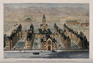 view St Marylebone Infirmary, Exmoor Street, London: the exterior. Coloured wood engraving by H.J. Crane after F. Watkins (?), 1881.