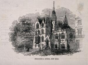 view The Philological School, St Marylebone, London: seen from the New Road. Wood engraving by W. T. Green after [C. A. H.], 1857.