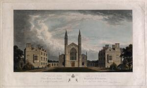 view St Katharine's Hospital, Regent's Park, London: seen from the road. Coloured aquatint by R.G. Reeve, 1827, after A. Poynter.