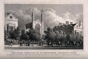 view St Katharine's Hospital, Regent's Park, London: seen from the road. Steel engraving by W. Tombleson, 1827, after T. H. Shepherd.