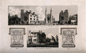 view St Katharine's Hospital, Regent's Park, London: seen from the road, and, below, the Master's house. Engraving by C. J. Smith, 1828.