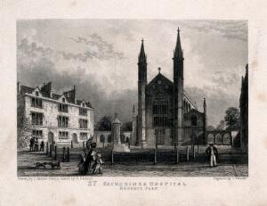 view St Katharine's Hospital, Regent's Park, London: seen from the road. Engraving by I. Woods after J. Salmon after R. Garland.