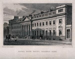 view The Royal York Baths, Regent's Park, London. Engraving by W. R. Smith, 1828, after T. H. Shepherd.