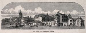 view The Poplar and Stepney Sick Asylum, Bromley-by-Bow: the street facade. Wood engraving, (c.1870?).