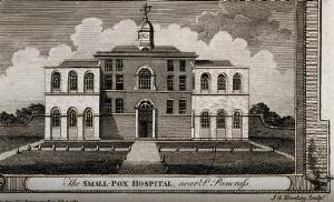 view The Smallpox Hospital, St Pancras, London. Engraving by J. G. Wooding, 1784.