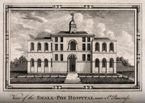 view The Smallpox Hospital, St Pancras, London. Engraving.