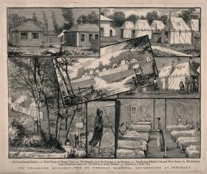 view The Smallpox Hospital, St Pancras, London: several views of the encampment at Finchley, 1882. Wood engraving by J.H. after watercolours by F. Collins, 1882.