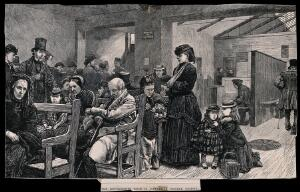 view University College Hospital, London: the outpatients' waiting room and dispensary. Wood engraving, 1872.