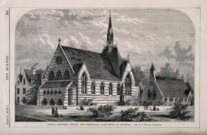 view Church and School at Agar Town, London: elevation. Wood engraving by W. E. Hodgkin, 1858, after B. Sly.