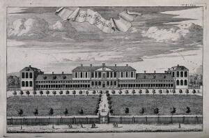 view Aske's Hospital, Shoreditch, London: the facade. Engraving, 1720.