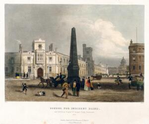 view The blind school, and, in the distance, Bedlam Hospital, Southwark. Coloured engraving by T. Albutt after [W.?] Read.