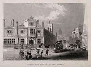 view The blind school, Southwark. Engraving.