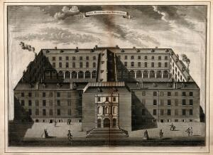 view Guy's Hospital, Southwark: an aerial view. Engraving by T. Bowles, c.1725.