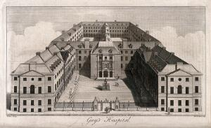 view Guy's Hospital, Southwark: an aerial view. Engraving by W. H. Toms after R. West, c.1738.
