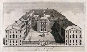 view Guy's Hospital, Southwark: an aerial view. Engraving by B. Cole, 1756, after R. West, 1738.