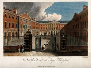 view Guy's Hospital, Southwark: the entrance courtyard, with a patient being carried in on a stretcher. Coloured engraving by W. , 1799, after J.