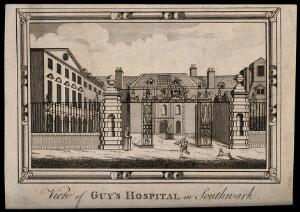 view Guy's Hospital, Southwark: the entrance courtyard, with a man running and a dog barking. Engraving.
