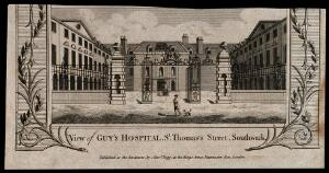 view Guy's Hospital: the entrance courtyard, with a patient being carried in on a stretcher. Engraving.