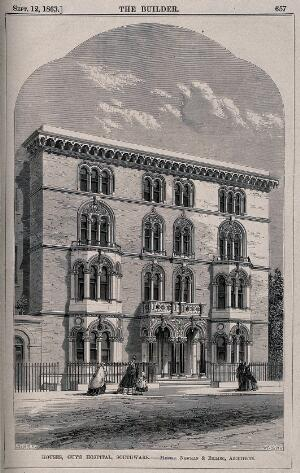 view Guy's Hospital, Southwark: the facades of a row of doctors' houses. Wood engraving by J. Walmsley after W. G. Smith, 1863.