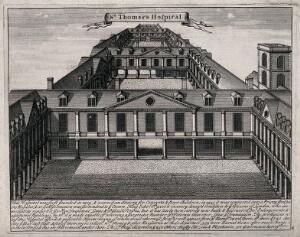 view Old Saint Thomas's Hospital, Southwark: a bird's-eye view looking east over the three courtyards. Engraving.