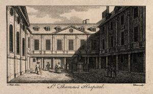 view Old Saint Thomas's Hospital, Southwark: inside the first courtyard. Engraving by W. Elliot after S. Wale.